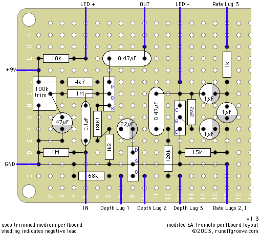 modified EA Tremolo perfboard layout